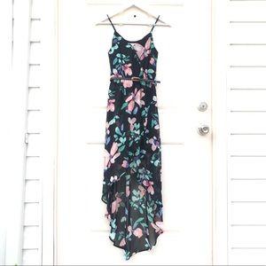 Black Floral Surplice High Low Dress w/ Belt